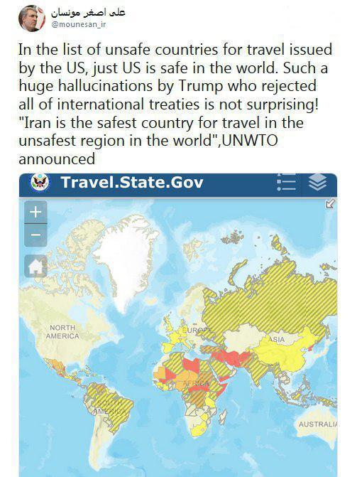 واکنش معاون رئیس جمهور به وضعیت ایران در طبقه بندی آمریکا در زمینه امنیت سفر ، چقدر آمریکایی به ایران سفر می نمایند؟