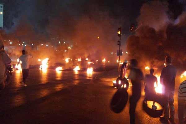 درگیری میان معترضان و نیروهای امنیتی در پل رینگ بیروت