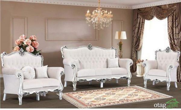 ست های جدید مبلمان چوبی سفید برای هال پذیرایی و اتاق نشیمن
