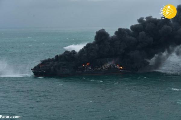 (تصاویر) آتش سوزی کشتی سنگاپوری در آب های سریلانکا